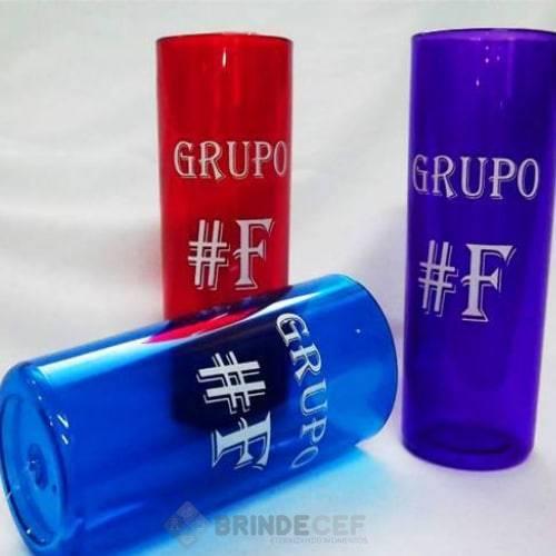 Copo Long Drink transparente azul e vermelho