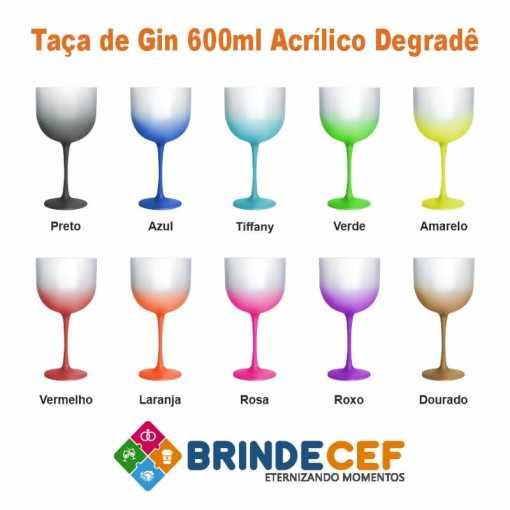 Taça de Gin de Acrílico Degradê 600ml Personalizada