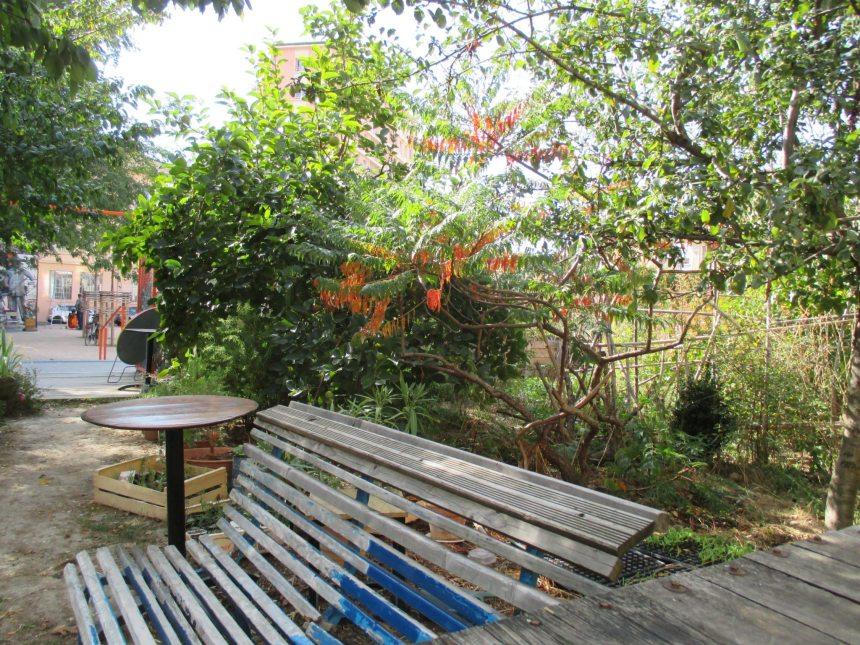 banc dans la verdure du jardin d'Amaranthes