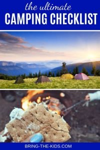 smores tents campfire sunset