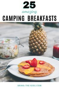pancakes and fruit for camping breakfast