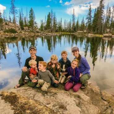 family hiking alpine lake trail uintah mountains