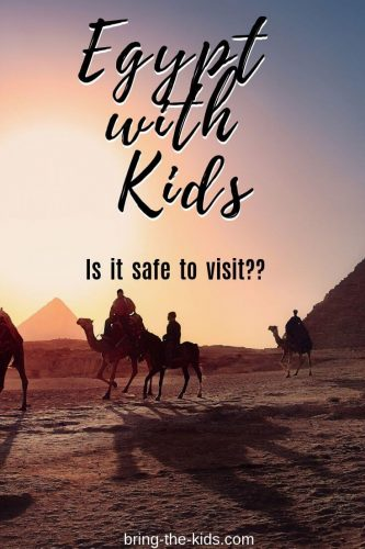 egypt with kids, camels and pyramids