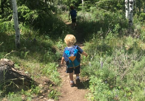 little boy hiking with backpack