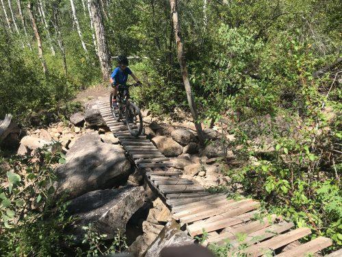 Mountain bike bridge dry fork flume