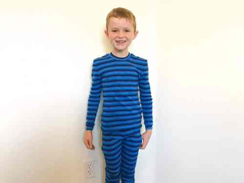 boy in stripes thermals
