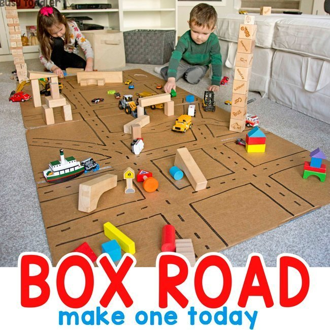 Easy Box Road Activity for Kids from Busy Toddler