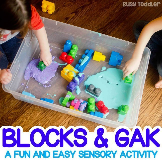 Easy Sensory Activity: Blocks and Gak - Busy Toddler