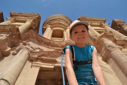 Little girl with camelbak in petra
