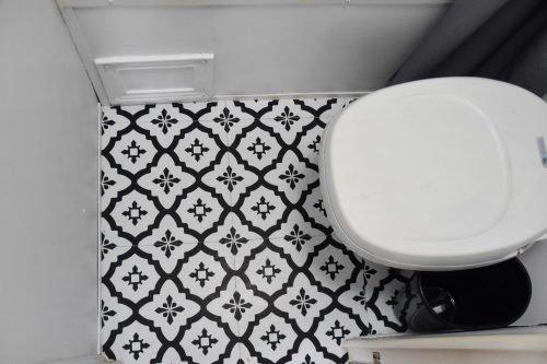 RV floor peel and stick tiles