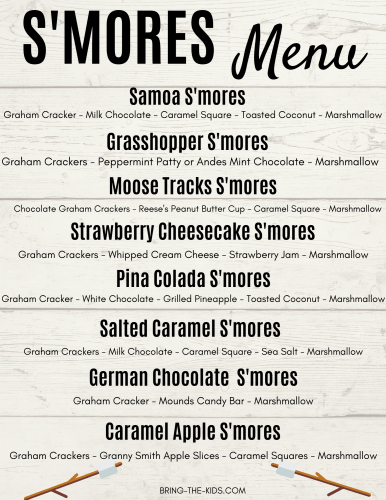 printable gourmet smores menu