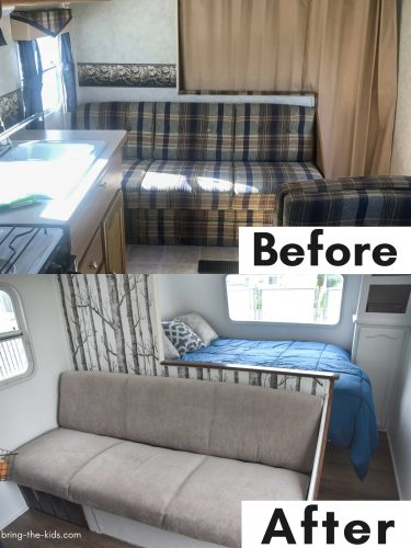 before after couch reupholster in RV