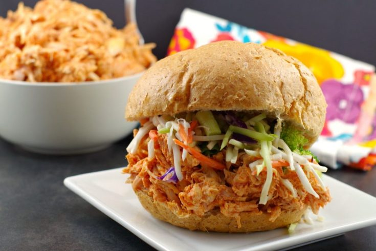 No Cook Buffalo Pulled Chicken Sandwich (with rotisserie chicken)