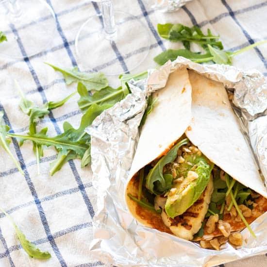 Easy Halloumi Wraps [Vegetarian]