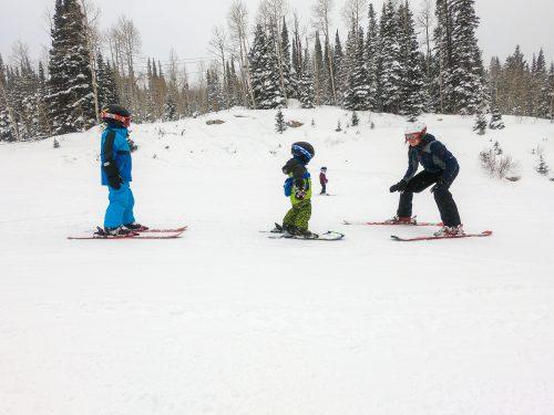 beginner skiing at solitude