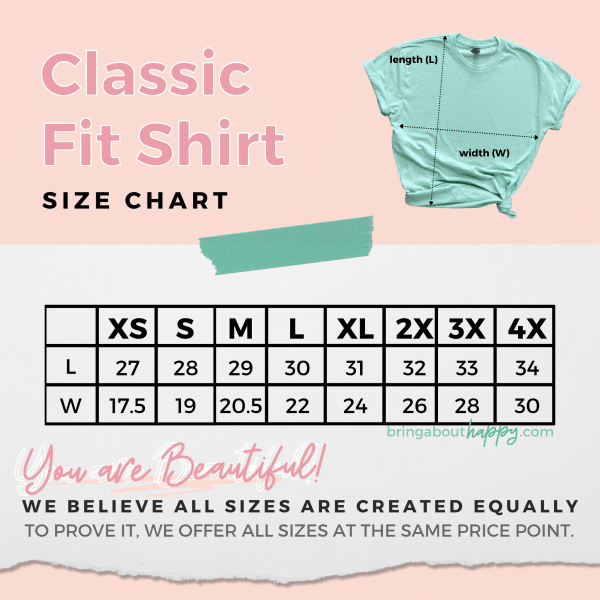 Classic Fit Shirt Size Chart. Refer to size chart in product description for reader friendly version