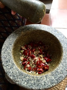 Mortar and Pestle making curry