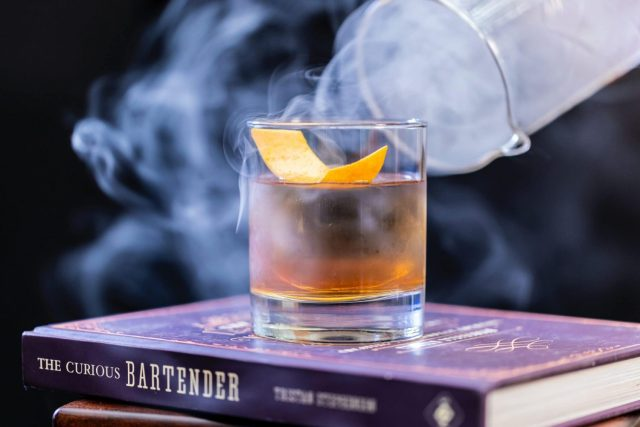 A Smokey old fashioned Whisky cocktail