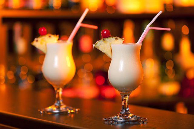 Pina Colada Cocktails on a bar