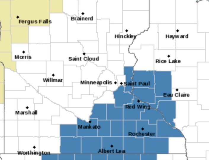 There are areas that are shaded in blue in the form of a winter storm on Tuesday, Wednesday.