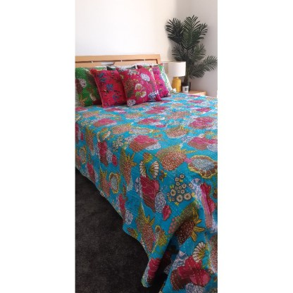 aqua blue boho bedding and cushions