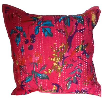 bright pink colourful scatter cushion on white background