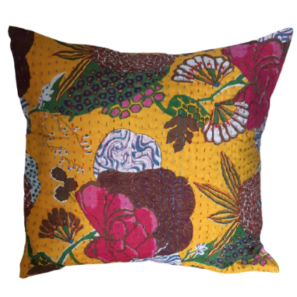 boho yellow patterned cushion
