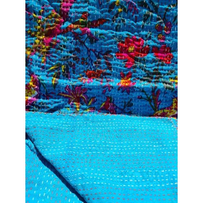 aqua blue throw blanket showing back and front of fabric