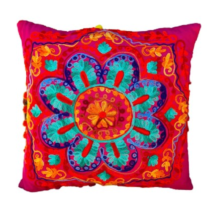 Embroidered scatter cushion in bright colours