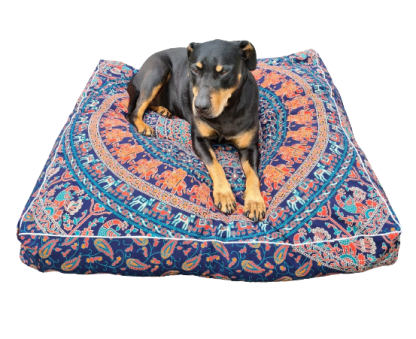 Dog on dog bed with mandala fabric pattern