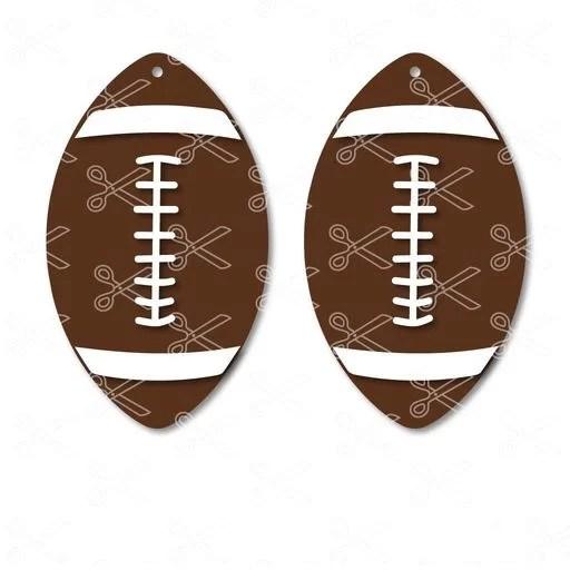 Football ball shape dangle earrings SVG and DXF Sport Fan Earrings Cut File