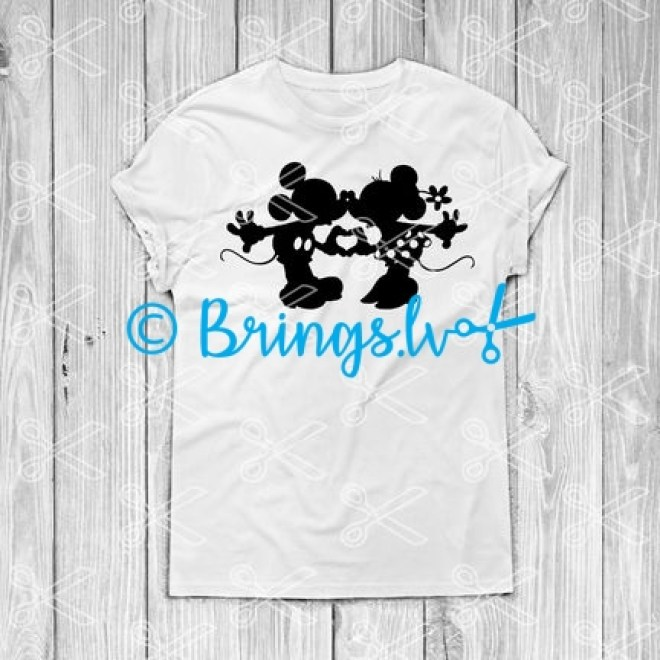 Mickey and Minnie kissing svg