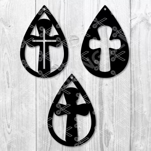 Cross Earrings Svg Teardrop Earring Svg Religious Earrings