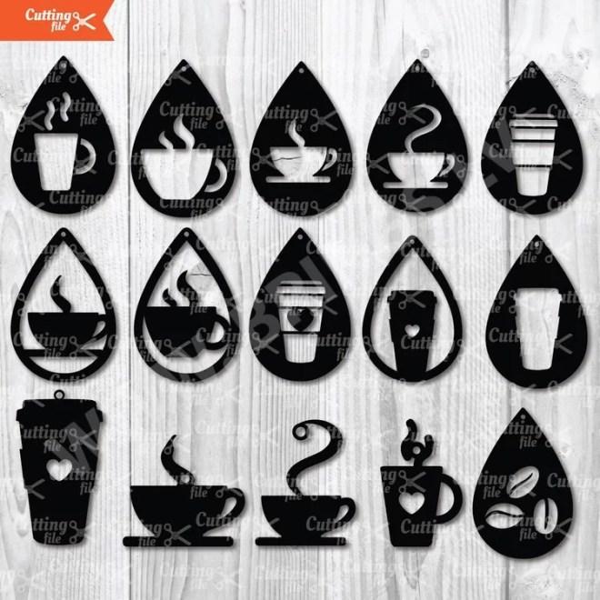 Coffee Earrings SVG Cut File