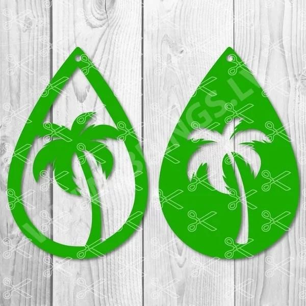 Palm Tree Teardrop Earring SVG