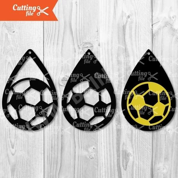 soccer teardrop earring svg