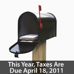 Taxes due April 18 2011