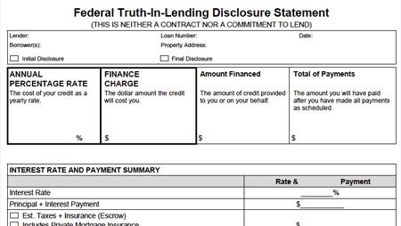 Truth-In-Lending snapshot