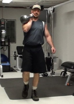 Nick Nilsson with kettlebell