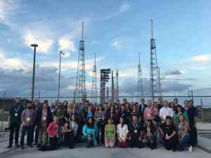Our media group in front of OA-4 Atlas V rocket. Yours truly left of center wearing silly hat