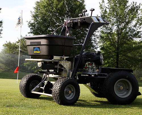 Spyker Ride-on Spreader on Golf Course