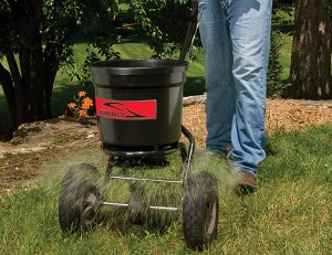 brinly push spreader 300x231 - How Often to Water Your Lawn in Summer? + 12 Tips for Responsible Watering
