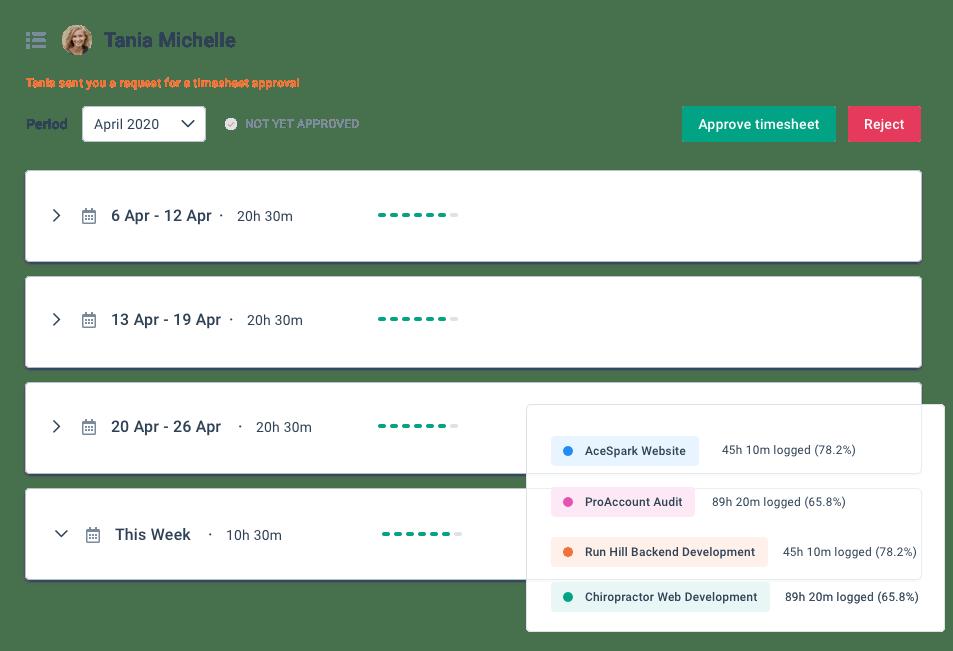 BrioHR timesheet notifications