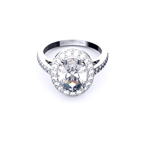 Brisbane diamond engagement ring oval halo in white gold