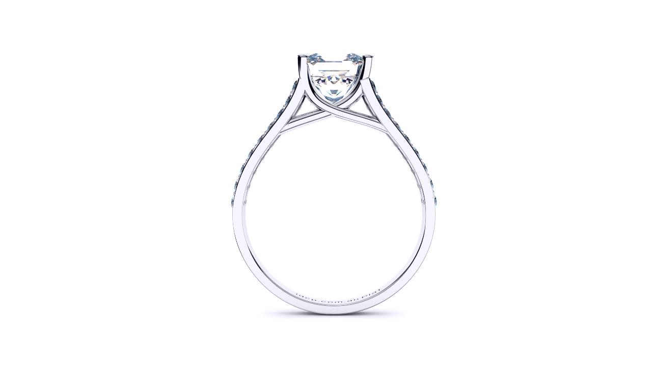 Radiant cross over split shank solitaire by Brisbane Diamond Company side view