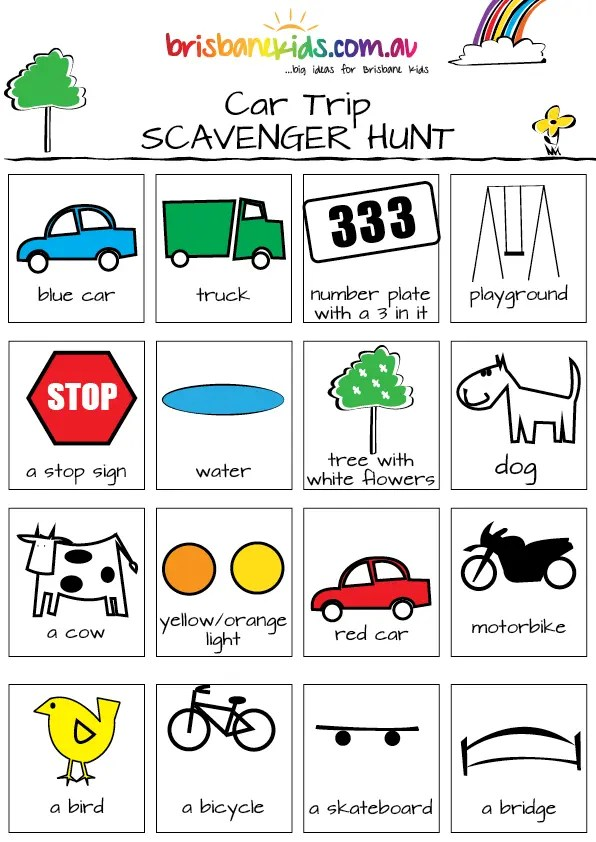 Car Scavenger Hunts and Bingo Games | Brisbane Kids