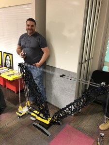 Chris demonstrates his mororised Technic crane