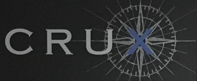 Close up of Crux Winery logo