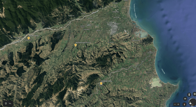 Marlborough District, New Zealand; Google Earth image