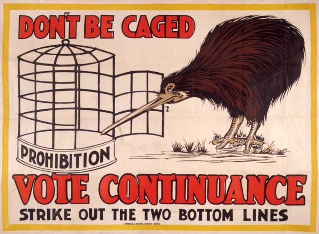This pro-continuance poster from 1928 urges New Zealanders not to confine themselves to a life of alcohol prohibition. The liquor trade's advertising material often portrayed the prohibition movement as a threat to New Zealanders' individual liberties.